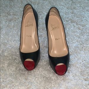 Authentic Christian Louboutin with Red peep toe